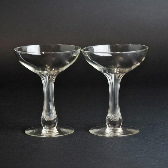 Vintage blown glass hollow stem champagne coupe saucers two - Champagne flutes hollow stem ...