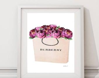 Watercolor purple peonies, fashion bag, shopping bag, Fashion Painting, Fashion Print, fashion shopping bag, gift for