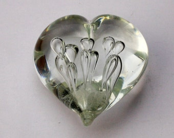 Heart Shaped Gozo Style Clear Glass Style Paperweight 4 inches