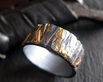 Viking Wedding Ring Unique Mens Wedding Band Black Gold Ring Rose Gold Ring Rustic Mens Wedding Band Mens Wedding Rings Mens Wedding Bands