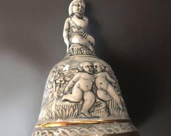 Italian Capodimonte Dinner Bell with Cherubs Porcelain