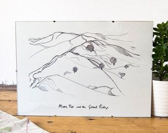 Mam Tor e la cresta grande paesaggio illustrato stampa / / campagna del distretto di picco / bianco e nero / illustrazione / / A3 parete arte Oggettistica per la casa