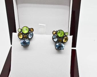 Sterling Silver 18.00cttw Genuine Topaz, Citrine, and Peridot Earrings 9.7g