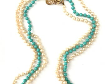 Vintage Multi Strand Pearl and Robins Egg Blue Necklace