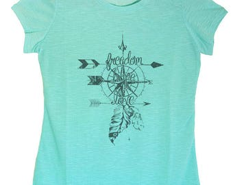 Women's Regular Freedom Hope Love Graphic Print Round Neck Polyester Top