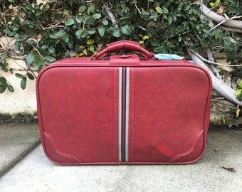 Vintage Red Suitcase Vintage Red and Blue Suitcase Vintage Small Red Suitcase Vintage Small Luggage Red Luggage Vintage Red Luggage Small
