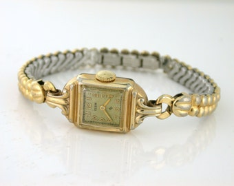 Elgin Ladies Watch 15 Jewels 10k rolled gold plate; V877116 - Special band!
