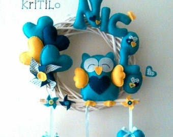 Stitchable OWL on Garland with hearts and pinwheels Handmade KriTiLo