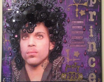 Mixed media collage on canvas of the legend that is 'Prince' entitled 'the purple one' 16 x 16""