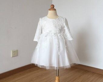Floor-length Ivory Lace Tulle Flower Girl Dress 2017 Long Sleeves