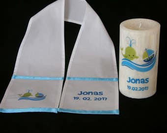 Christening Candle Stole with Whale and Boat