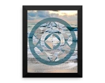 Framed Ocean Geometric Circle Mandala Art Print Yoga Meditation Mandala