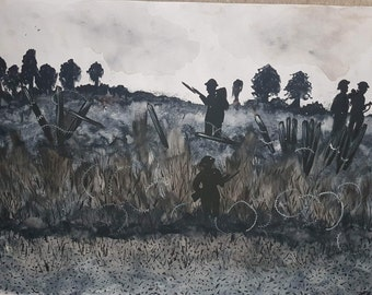 War scene , world war watercolour , soldiers painting, remembrance