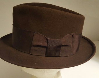 Vintage Knox Homburg Hat - Brown - Fifth Ave, New York, Premier Quality - Size 7