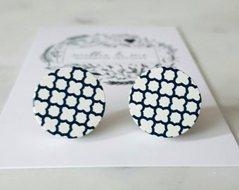 Navy and white wooden disc earrings