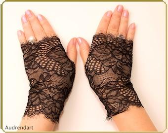Black lace wedding gloves mesh gloves fingerless gloves black strech lace gloves lace gloves party gloves everyday gloves bridal gloves