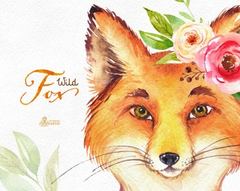 Wild Fox. Watercolor fox with wreath and flowers, hand painted clipart, laurel, floral, invite, country, diy, forest, boho, animal, portrait
