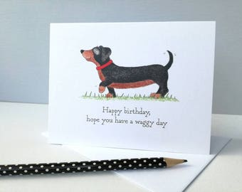 Dachshund birthday card, dog lovers birthday card, hope you have a waggy day!