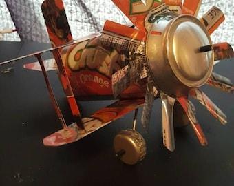 Handmade Popcan Airplane, Popcan Airplane, Garden Decor, Pop Can Art, Airplane decor