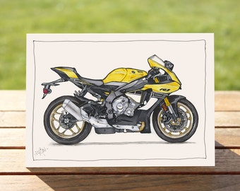 """Motorcycle Gift Card Yellow R1 Sportsbike
