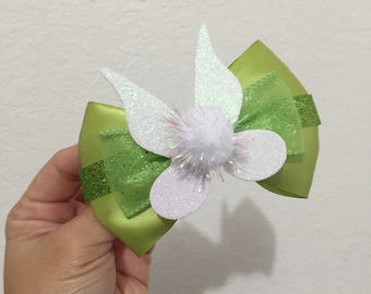 Tinkerbell inspired hairbow