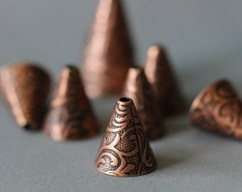 SUMMER SALE Antique Copper Cone, 12x12mm, Large Cone, Copper Cone