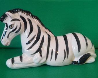 Vintage Ceramic Zebra Figurine Statue Knick Knack Scuplture Hollywood Regency Safari Exotic Hand-Painted
