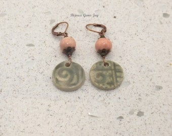 Earrings, These 2 Things, Ceramic with Glaze, Copper