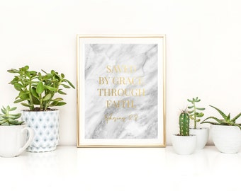 SAVED BY GRACE in marble and gold foil - GF14