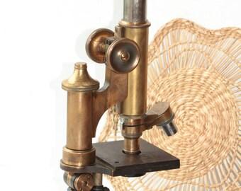 Leitz Wetzlar Microscope Germany Brass 19 c. Vintage Collecting Rare ж
