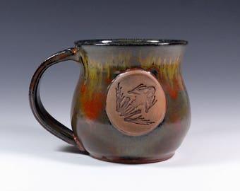Frog skeleton handmade pottery stoneware mug art glaze