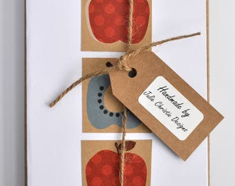 4 Handmade Scandi Themed Printed Paper Greeting Cards, Rectangle Format Gift Card Pack, Blank Inside