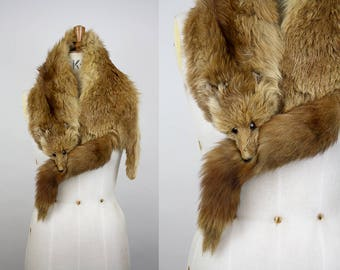 1940s Full Fox Stole / 40s Fur Wrap / Full Fox Fur / Mouth Clip / Face and Tail Intact / Full Body Pelt / xxs xs s m l xl xxl