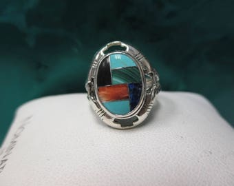 Sterling Silver Enamel Unique Oval Ring