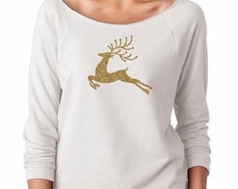 Gold Reindeer Christmas Shirt Womens Long Sleeve Off the Shoulder Tee T Shirt Top