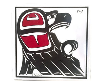 First Nations Artist Jody Wilson Eagle Art Tile, Original Native Art, Haida and Salish Painting from Canada