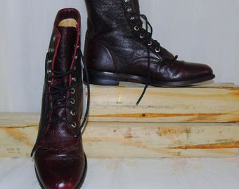 FREE SHIPPING! Womens Vintage Dark Burgundy Leather Justin Lace Up Ankle Boots / 6 B
