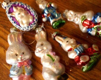 Six Old World Christmas Easter Bunny Ornaments, Handcrafted