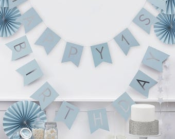 1st Birthday Banner | Happy 1st Birthday | Blue & Silver Birthday Bunting | 1st Birthday Party Decorations | 2.5m Long