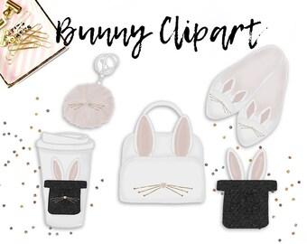 BUNNY CLIPART . Easter clip art. clip art. hand drawn designs. fashion clipart