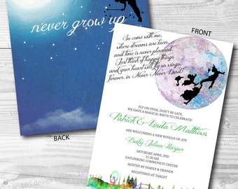 Peter Pan Invitation Printable front & back - Peter Pan Birthday - Peter Pan Baby Shower Invite - Neverland Party-Customize for any event