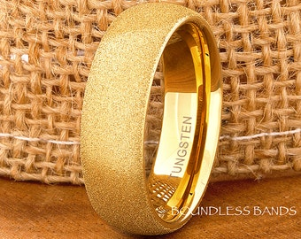 Tungsten Ring Tungsten Wedding Ring Mens Women Wedding Bands Yellow Gold Promise Anniversary 7mm Matching Band Ring Diamond Powder Blasted