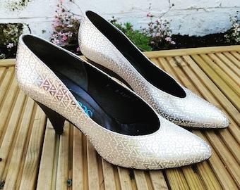 Vintage shoes size 5 silver vintage heels size 5 by Seducta 80s shoes - women's shoes size 5 disco