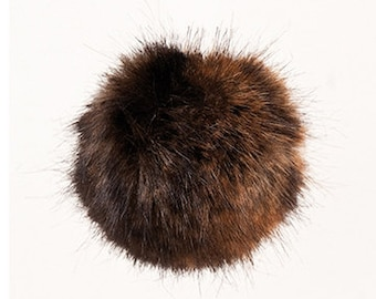 Pom Pom fake fur 10 cm diameter in colour furry brown for crazy bobble hats as keyring or for your mirror in the car pompom multipurpose