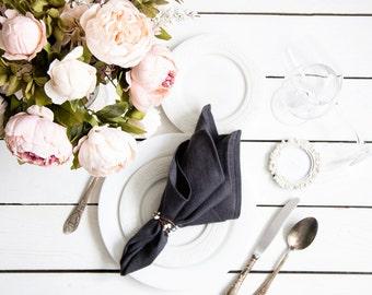 Linen Dinner Napkins set of 6 - Dark grey cloth napkins - Softened linen napkins