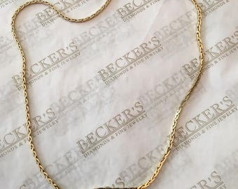 """Heavy 14k yellow gold Square Wheat Chain, 18.25"""", 12.38 grams and 1.75mm wide"""
