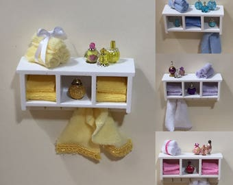 1:12 Scale Dollhouse Miniature Bathroom Shelf/Cabinet/Towel Rack (sold individually)