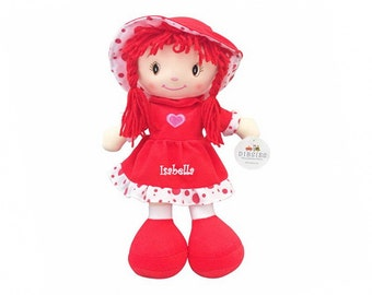 Personalized Sweetheart Cuddle Doll - 14 Inch, Red