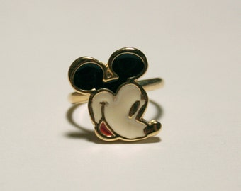 Vintage Enamel Mickey Mouse Ring - Adjustable Silver - Disneyana - Stocking Stuffer - Gift - One Size Fits All