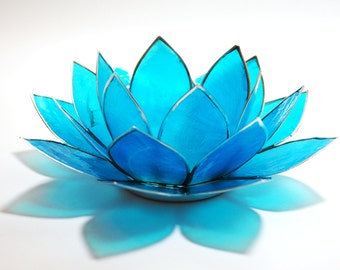 Natural Capiz Shell aquamarine blue Lotus Tealight Holder